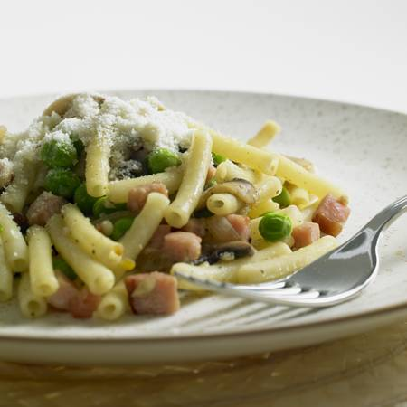 still lifes: pasta with smoked meat and mushrooms
