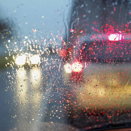artificial lights: car in the rain