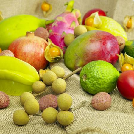 exotic fruits: tropical fruit still life