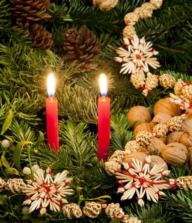 still lifes: Christmas still life with candles Stock Photo