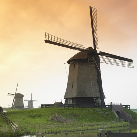 schermerhorn: windmills near Schermerhorn, Netherlands Stock Photo