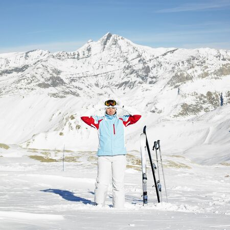 woman skier, Alps Mountains, Savoie, France Stock Photo - 8382427