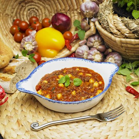 still lifes: beef hash with chick peas Stock Photo
