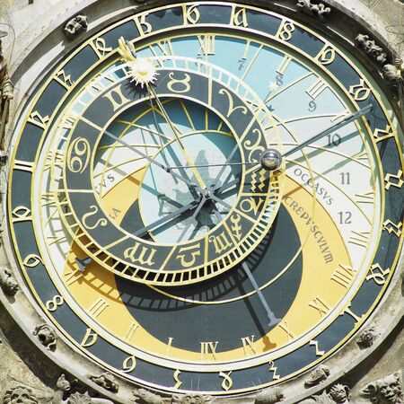 staromestke namesti: detail of Horloge, Old Town Hall, Prague, Czech Republic
