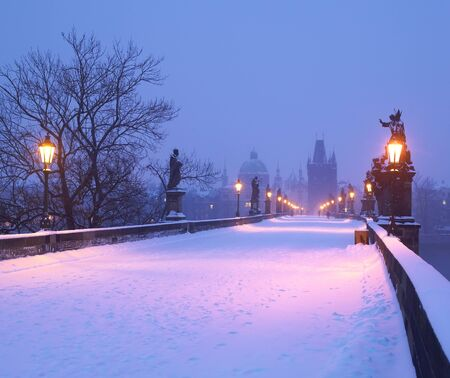 travel locations: Charles bridge in winter, Prague, Czech Republic