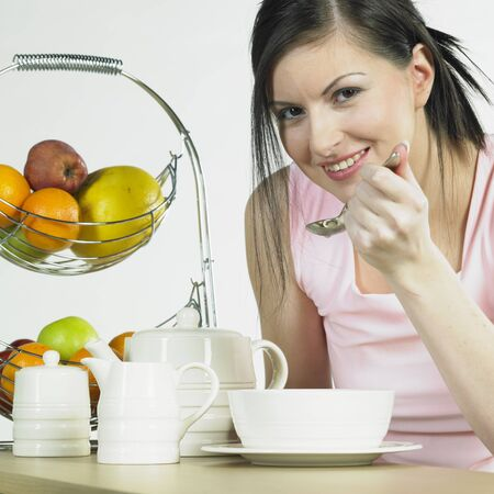 woman during breakfast photo