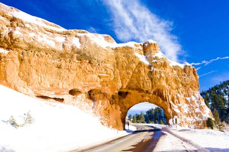 tunnel, Bryce Canyon National Park in winter, Utah, USA photo