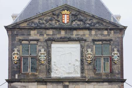 gildhall: town halls detail, Gouda, Netherlands Stock Photo