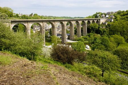 viaducts: road viaduct, Dinan, Brittany, France Stock Photo