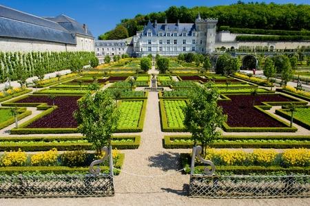 touraine: Villandry Castle with garden, Indre-et-Loire, Centre, France