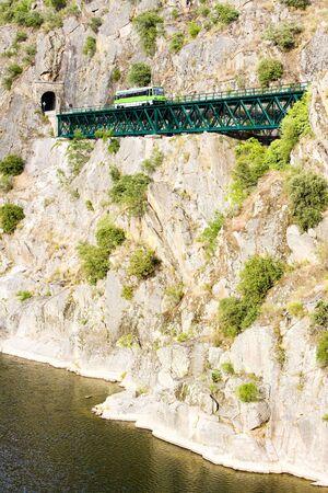 viaducts: engine coach on railway viaduct near Tua, Douro Valley, Portugal