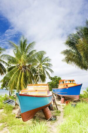 barbade: fishing boats, Six Mens Bay, Barbados Banque d'images