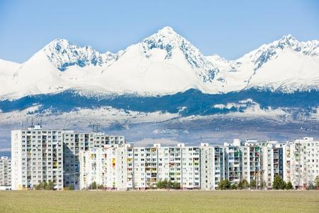 tatras tatry: Poprad with Vysoke Tatry (High Tatras) at background, Slovakia Stock Photo