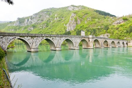 yugoslavia federal republic: bridge over Drina River, Visegrad, Bosnia and Hercegovina Stock Photo