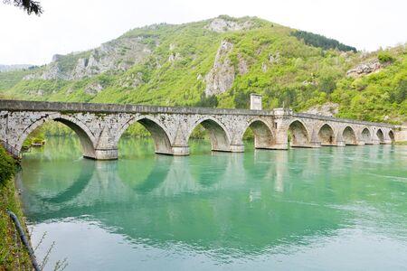 bosna: ponte sul fiume Drina, Visegrad, Bosnia ed Erzegovina Archivio Fotografico
