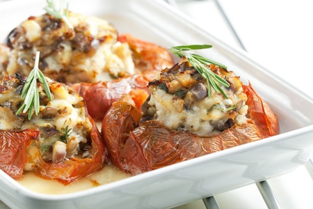 chicken meat: baked tomatoes with chicken meat and mushrooms