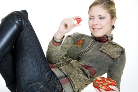 festival moments: woman with chocolate Stock Photo