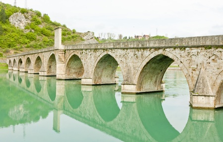 bosnia hercegovina: bridge over Drina River, Visegrad, Bosnia and Hercegovina Stock Photo
