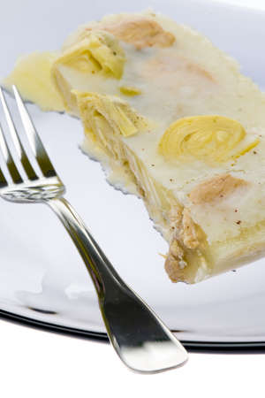 chicken meat: aspic with chicken meat and artichokes Stock Photo