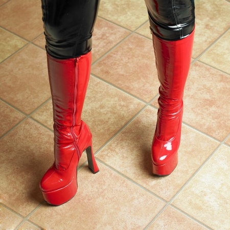 extravagancy: red latex boots