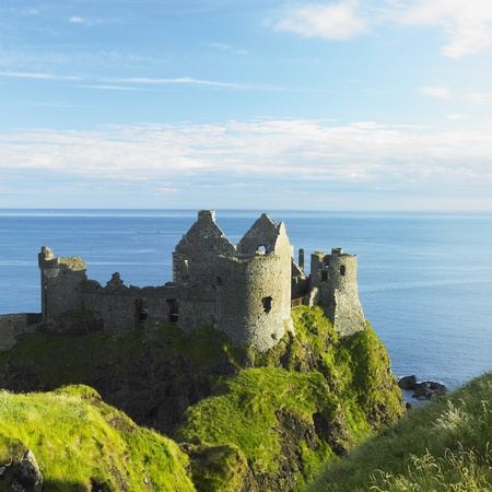 northern ireland: ruins of Dunluce Castle, County Antrim, Northern Ireland Stock Photo