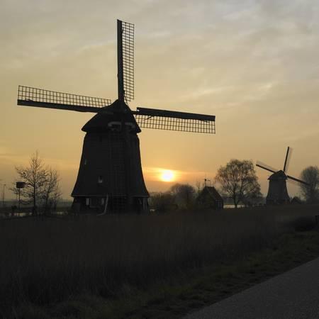 auroral: windmills near Rustenburg, Netherlands