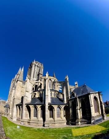 gothic build: Cathedral Notre Dame, Coutances, Normandy, France Stock Photo