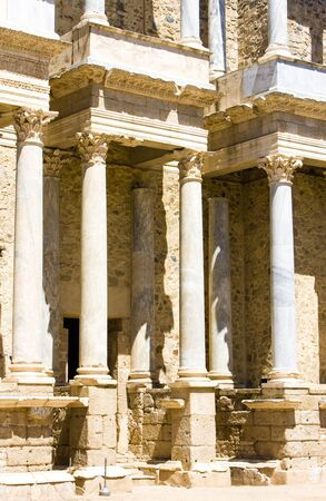 merida: detail of Roman Theatre, Merida, Badajoz Province, Extremadura, Spain