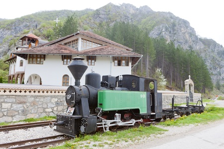 bosnia hercegovina: steam locomotive in front of Dobrun Monastery, Bosnia and Hercegovina