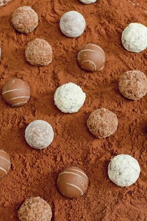pralines: pralines in cocoa Stock Photo