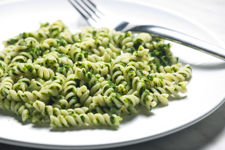 fussili: pasta fussili with spinach Stock Photo