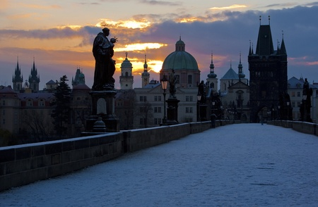 Charles Bridge at dawn, Prague, Czech Republic photo