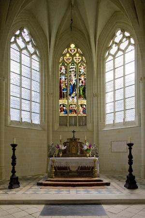 castle interior: castle chapel, Ussé Castle, Indre-et-Loire, Centre, France