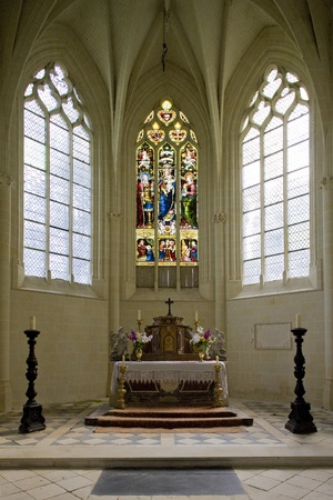 a window on the world: castle chapel, Uss� Castle, Indre-et-Loire, Centre, France