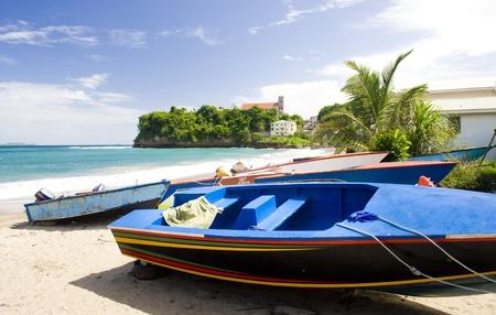 grenada: fishing boats, Sauteurs Bay, Grenada Stock Photo