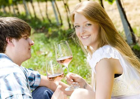 couple at a picnic in vineyard Stock Photo - 8952798
