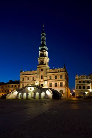artificial lights: Town Hall at night, Main Square (Rynek Wielki), Zamosc, Poland