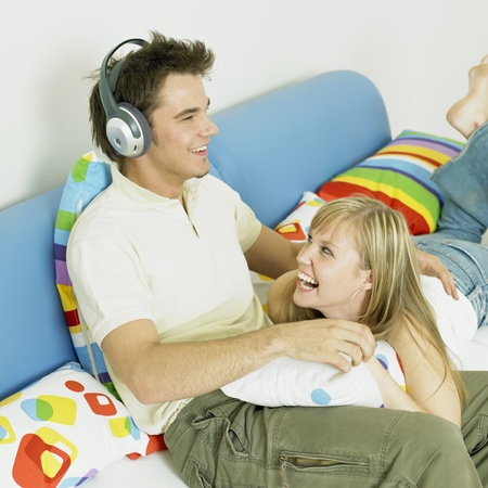 couple listening to music photo