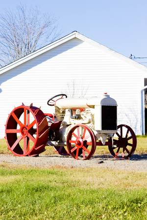 farm implements: old tractor near Jonesboro, Maine, USA