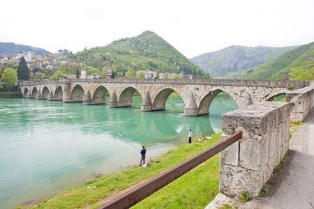 hercegovina: bridge over Drina River, Visegrad, Bosnia and Hercegovina Stock Photo