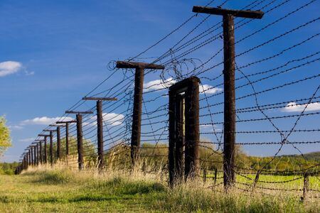 barbed hook wires: remains of iron curtain, Cizov, Czech Republic