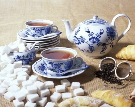 porcelain: tea set Stock Photo
