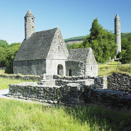 eire: St. Kevin´s Monastery, Glendalough, County Wicklow, Ireland Stock Photo