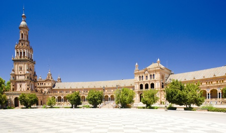 sevilla: Spaans plein (Plaza de Espana), Sevilla, Andalusie, Spanje