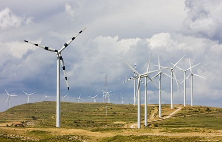 windy energy: wind turbines, Aragon, Spain Stock Photo