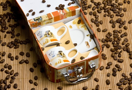 still lifes: cups for coffee with coffee beans