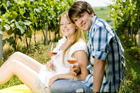 couple at a picnic in vineyard photo