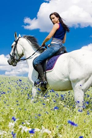 Reiten auf dem Pferd Standard-Bild