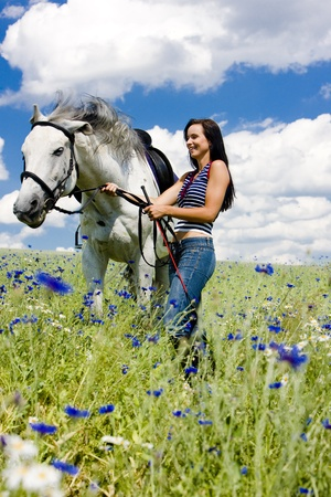 equestrian with a horse on meadow photo