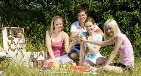 picnicking: friends at a picnic